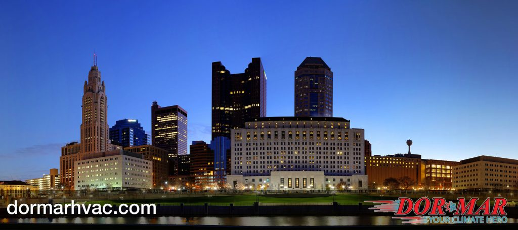 Columbus Ohio skyline at night | Dor-Mar Heating