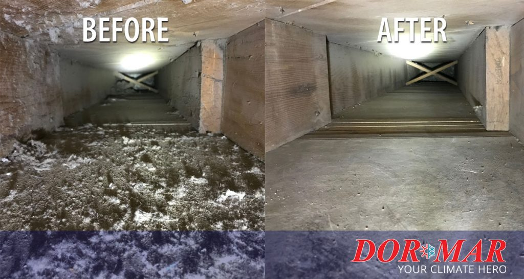 Before and after HVAC duct cleaning by Dor-Mar